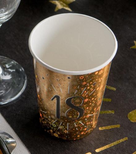 10 gobelets jetables anniversaire carton holographique or