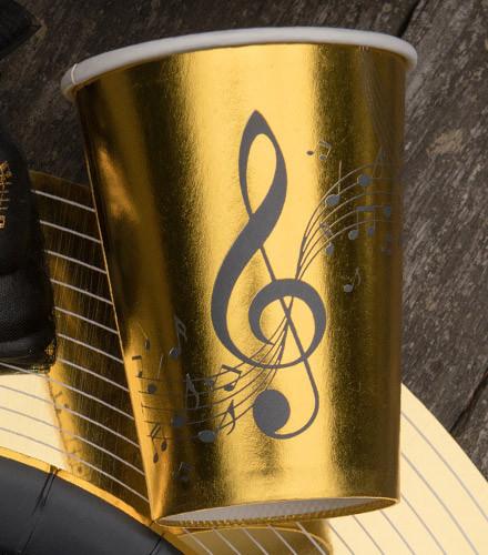 10 gobelets jetables carton musique dorés