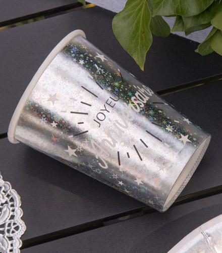 10 gobelets jetables anniversaire carton or/argent holographique