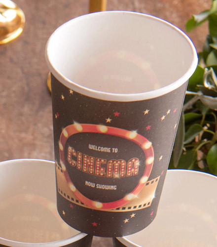 10 gobelets jetables carton cinéma noir