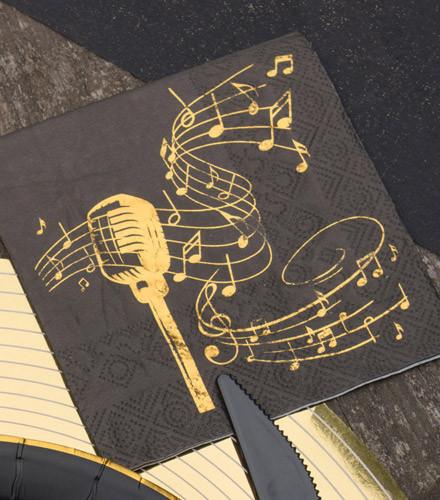 20 serviettes jetables papier musique noir