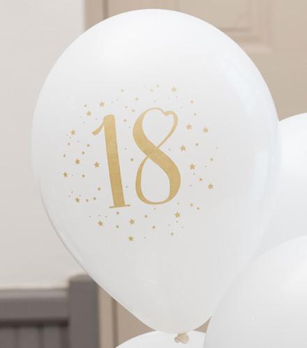 8 ballons gonflables anniversaire âge blancs