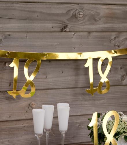 Guirlande anniversaire carton âge or métallisé