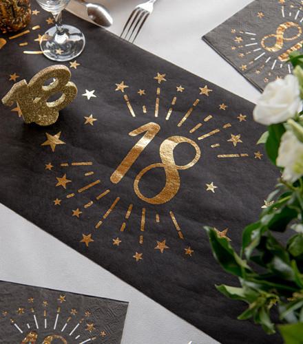 Chemin de table anniversaire âge tissu noir