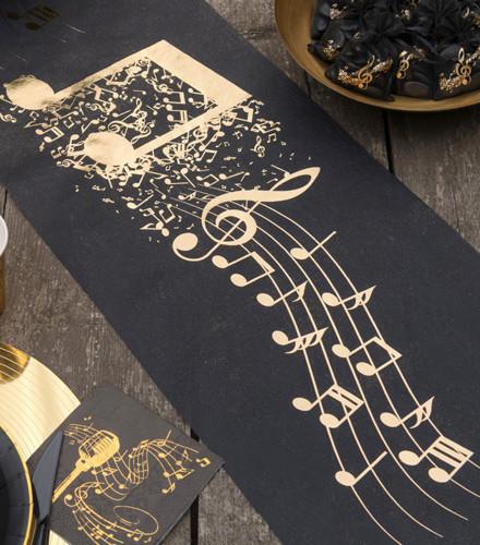 Chemin de table musique tissu non tissé noir et or