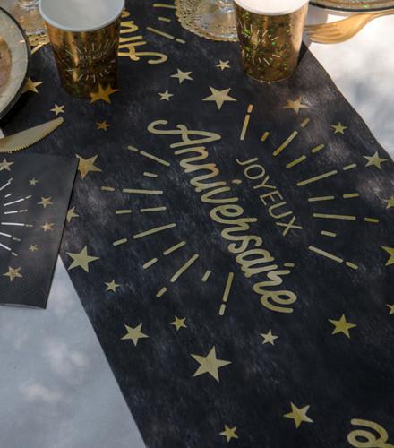 Chemin de table anniversaire intissé or/argent