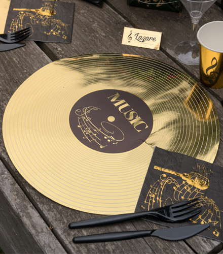 6 sets de tables disque de musique carton doré