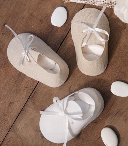4 contenants à dragées baptême chausson coton blanc/naturel