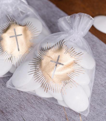 6 sacs à dragées Communion organdi croix