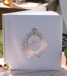 Livre d'or mariage just married papier rose gold