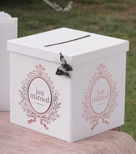Tirelire mariage just married carton rose gold