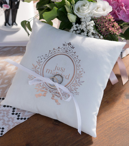 Porte-alliances juste married coton rose gold