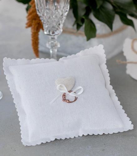 Porte-alliances coeur coton blanc/naturel