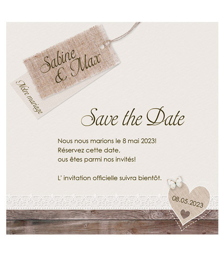 Save the date mariage vintage bois
