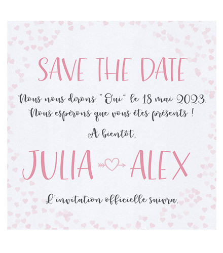 4 save the date mariage petits coeurs roses