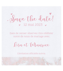 4 save the date mariage marbre rose