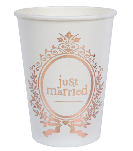 10 gobelets jetables mariage carton just married