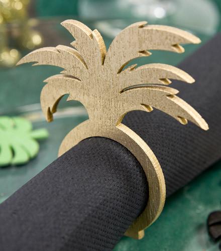 2 ronds de serviette palmier bois