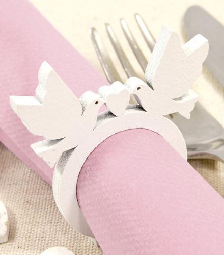 2 ronds de serviettes mariage colombes colorés