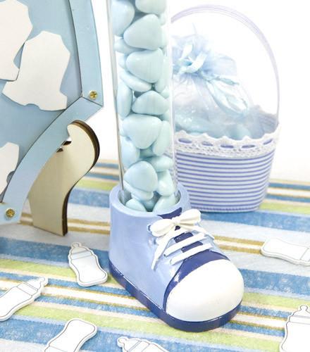 Porte-dragées baptême fille/garçon chaussure résine