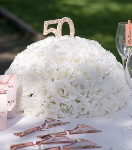Centre de table roses artificielles blanches