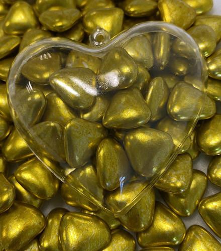 Dragées coeur chocolat noir 37% or - 500g