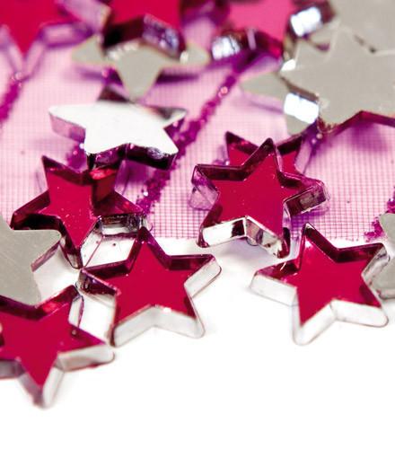 Confettis étoiles miroir colorés