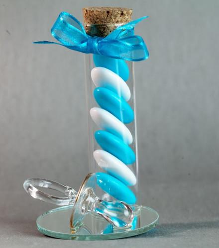 Eprouvette à dragées baptême bébé 10 cm en verre miroir et tétine