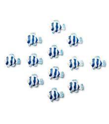 12 autocollants poisson bleu marine résine