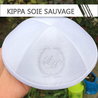 kippa personnalisée en soie sauvage