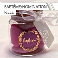 Contenants + Dragées Baptême Nomination Fille personnalisés
